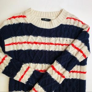J. Crew Cream Blue Red Striped Cable Knit Sweater